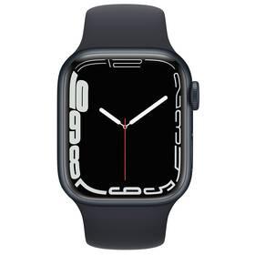 Chytré hodinky Apple Watch Series 7 GPS, 45mm pouzdro z půlnočně inkoustového hliníku - temně inkoustový sportovní řemínek (MKN53HC/A)