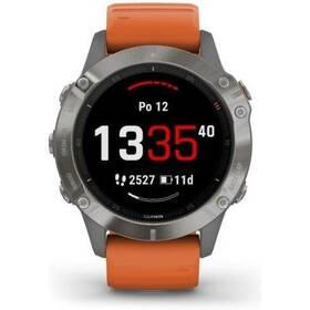 GPS hodinky Garmin fenix6 PRO Sapphire (MAP/Music) (010-02158-14) oranžové/titanium