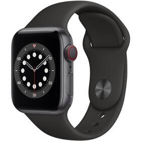 Chytré hodinky Apple Watch Series 6 GPS + Cellular, 40mm pouzdro z vesmírně šedého hliníku - černý sportovní náramek (M06P3HC/A)