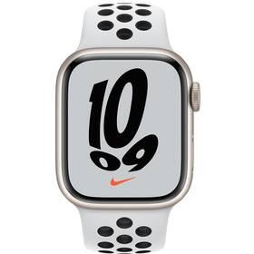 Chytré hodinky Apple Watch Nike Series 7 GPS + Cellular, 45mm pouzdro z hvězdně bílého hliníku - platinový / černý sportovní řemínek (MKL43HC/A)