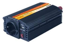 Měnič napětí Solight 12V, 300W, kovový, černý, 12V + USB 500mA (221881)