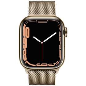Chytré hodinky Apple Watch Series 7 GPS + Cellular, 45mm zlaté pouzdro z nerezové oceli - zlatý milánský tah (MKJY3HC/A)