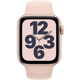 Chytré hodinky Apple Watch SE GPS 44mm pouzdro ze zlatého hliníku - pískově růžový sportovní náramek (MYDR2HC/A)
