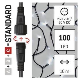 Spojovací řetěz EMOS 100 LED Standard, 10 m, venkovní i vnitřní, studená bílá, časovač (D1AC03)