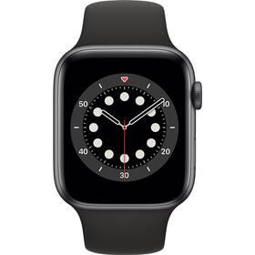 Chytré hodinky Apple Watch Series 6 GPS 44mm pouzdro z vesmírně šedého hliníku - černý sportovní náramek (M00H3HC/A)
