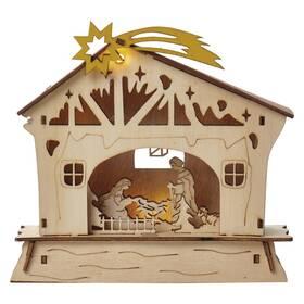 LED dekorace EMOS vánoční betlém dřevěný, 16,5 cm, 2x AAA, vnitřní, teplá bílá, časovač (DCWW03)