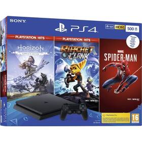 Herní konzole Sony PlayStation 4 500 GB + Marvel's Spider-Man + Horizon Zero Dawn + Ratchet & Clank (PS719391708)