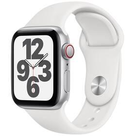 Chytré hodinky Apple Watch SE GPS + Cellular, 44mm pouzdro ze stříbrného hliníku - bílý sportovní náramek (MYEV2HC/A)