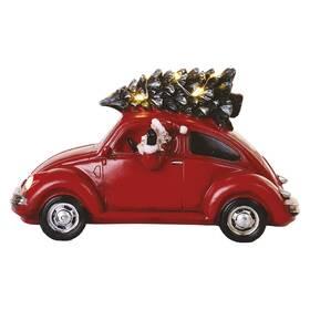 LED dekorace EMOS červené auto se Santou, 12,5 cm, 3x AA, vnitřní, teplá bílá (DCLW08)