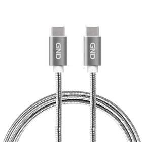 Kabel GND USB-C / USB-C 3.1, PD, 2m, opletený (USBCC200MM01) šedý