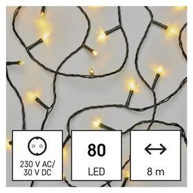Vánoční osvětlení EMOS 80 LED řetěz, 8 m, venkovní i vnitřní, teplá bílá, časovač (D4AW02)