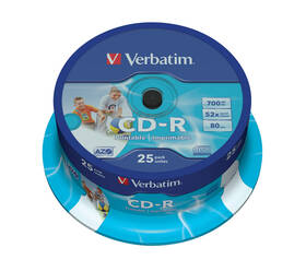 Disk Verbatim Printable CD-R DLP 700MB/80min, 52x, 25-cake (43439)