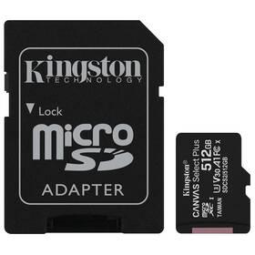 Paměťová karta Kingston Canvas Select Plus MicroSDXC 512GB UHS-I U1 (100R/85W) + adapter (SDCS2/512GB)