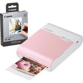 Fototiskárna Canon Selphy Square QX10 + papíry 20 ks růžová