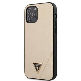 Kryt na mobil Guess Saffiano V Stitch na Apple iPhone 12/12 Pro (GUHCP12MVSATMLLG) zlatý