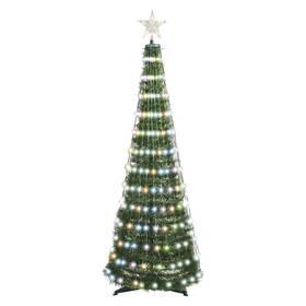 LED dekorace EMOS 244 LED vánoční stromek se světelným řetězem a hvězdou, 1,5 m, vnitřní, ovladač, časovač, RGB (D5AA02)