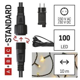 Spojovací řetěz EMOS 100 LED Základní sada pro spojovací řetězy Standard, 10 m, venkovní, teplá bílá, časovač (D1AW01)