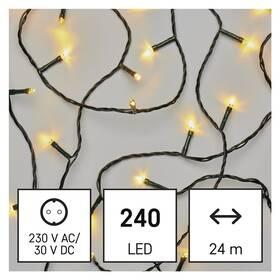 Vánoční osvětlení EMOS 240 LED řetěz, 24 m, venkovní i vnitřní, teplá bílá, programy (D4AW08)
