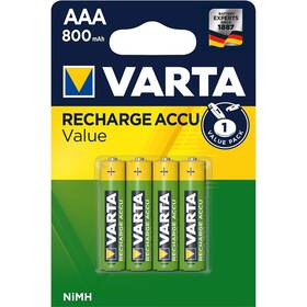 Baterie nabíjecí Varta Value, HR03, AAA, 800mAh, Ni-MH, blistr 4ks (56613101404)
