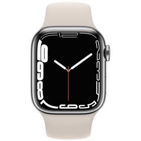 Chytré hodinky Apple Watch Series 7 GPS + Cellular, 45mm stříbrné pouzdro z nerezové oceli - hvězdně bílý sportovní řemínek (MKJV3HC/A)