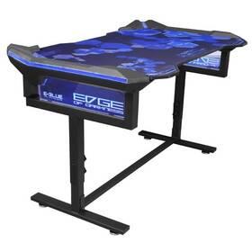 Herní stůl E-Blue 135x78,5 cm, RGB podsvícení, výškově nastavitelný, s podložkou pod myš (EGT004BKAA-IA) černý/modrý