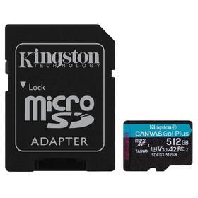Paměťová karta Kingston Canvas Go! Plus MicroSDXC 512GB UHS-I U3 (170R/90W) + adaptér (SDCG3/512GB)