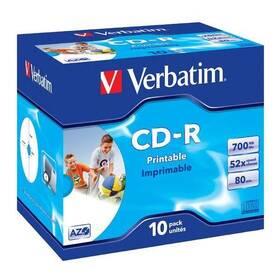 Disk Verbatim Printable CD-R DLP 700MB/80min. 52x, jewel box, 10ks (43325)