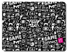 Podložka pod myš Connect IT Doodle malá, 32 x 26 cm (CMP-1120-SM) černá/bílá