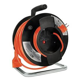 Kabel prodlužovací na bubnu Solight 1 zásuvka, 50m, 3x 1,5mm2 (PB12O) černý/oranžový
