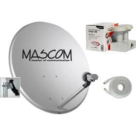 Parabola Mascom OP-VJ2 + LNB monoblock + kabel koax šedá