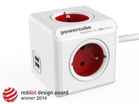 Kabel prodlužovací Powercube Extended USB, 4x zásuvka, 2x USB, 1,5m bílý/červený