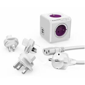 Kabel prodlužovací Powercube Rewirable USB+Travel Plugs+IEC, 4x zásuvka, 2x USB, 1m bílý/fialový