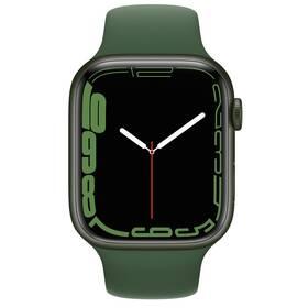 Chytré hodinky Apple Watch Series 7 GPS, 45mm pouzdro ze zeleného hliníku - jetelově zelený sportovní řemínek (MKN73HC/A)
