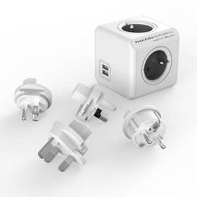 Cestovní adaptér Powercube Rewirable USB + Travel Plugs - šedý (456308) šedý