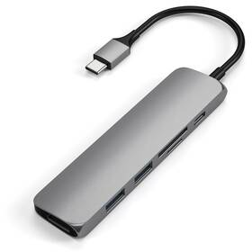USB Hub Satechi USB-C Slim Multimedia Adapter V2 (2x USB 3.0, USB-C, HDMI, Micro SD, SD) (ST-SCMA2M) šedá