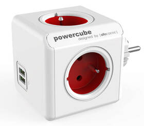 Rozbočovací zásuvka Powercube Original USB,  4x zásuvka, 2x USB bílá/červená