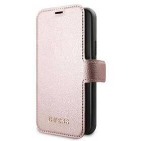 Pouzdro na mobil flipové Guess Iridescent Book na Apple iPhone 12/12 Pro (GUFLBKSP12MIGLRG) růžové