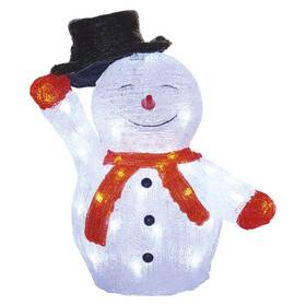 LED dekorace EMOS 40 LED vánoční sněhulák s kloboukem, 36 cm, venkovní i vnitřní, studená bílá, časovač (DCFC18)