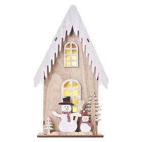 LED dekorace EMOS domek se sněhuláky, 28,5 cm, 2x AA, vnitřní, teplá bílá, časovač (DCWW18)