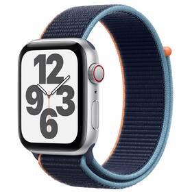 Chytré hodinky Apple Watch SE GPS + Cellular, 44mm pouzdro ze stříbrného hliníku - námořnicky tmavomodrý provlékací sportovní řemínek (MYEW2HC/A)