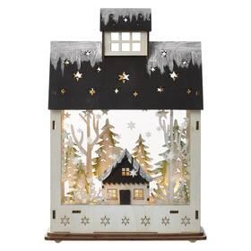 LED dekorace EMOS vánoční domek dřevěný, 30 cm, 2x AA, vnitřní, teplá bílá, časovač (DCWW05)