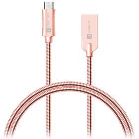 Kabel Connect IT Wirez Steel Knight USB/micro USB, ocelový, opletený, 1m (CCA-3010-RG) růžový/zlatý