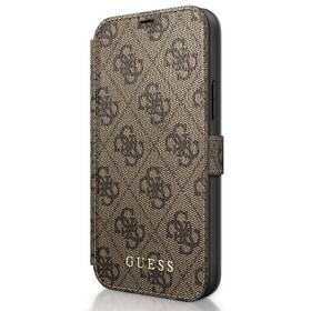 Pouzdro na mobil flipové Guess 4G Book na Apple iPhone 12/12 Pro (GUFLBKSP12M4GB) hnědé