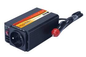 Měnič napětí Solight 12V, 200W, kovový, černý, 12V + USB 500mA (221882)