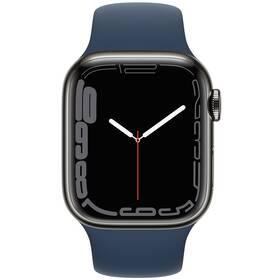 Chytré hodinky Apple Watch Series 7 GPS + Cellular, 45mm grafitově šedé pouzdro z nerezové oceli - hlubokomořsky modrý sportovní řemínek (MKL23HC/A)