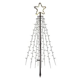 LED dekorace EMOS 180 LED vánoční strom kovový, 180 cm, venkovní i vnitřní, teplá bílá, časovač (DCTW02)