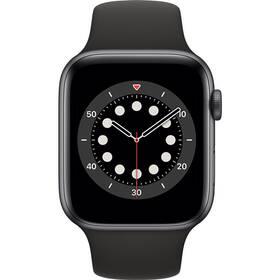 Chytré hodinky Apple Watch Series 6 GPS 40mm pouzdro z vesmírně šedého hliníku - černý sportovní náramek (MG133HC/A)