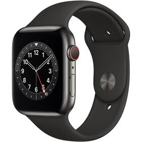 Chytré hodinky Apple Watch Series 6 GPS + Cellular, 44mm grafitově šedé pouzdro z nerezové oceli - černý sportovní náramek (M09H3HC/A)
