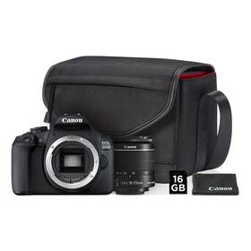 Digitální fotoaparát Canon EOS 2000D + 18-55 IS II + SB130 + 16GB karta (2728C013AA) černý