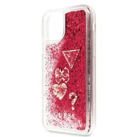 Kryt na mobil Guess Glitter Hearts na Apple iPhone 11 (GUHCN61GLHFLR) červený